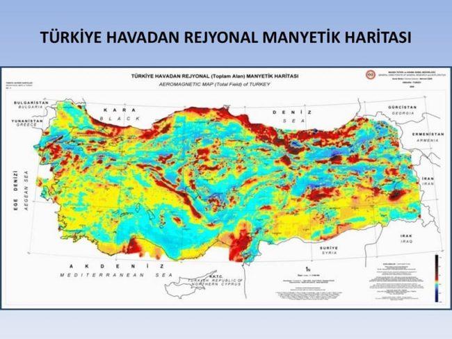 türkiye havadan rejyonal manyetik haritası