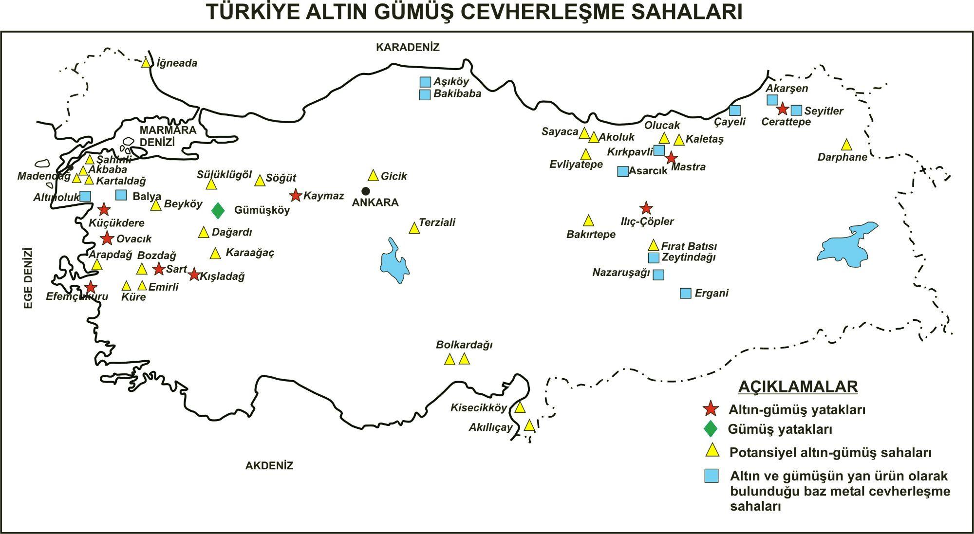 Türkiye Altın ve gümüş Yatakları