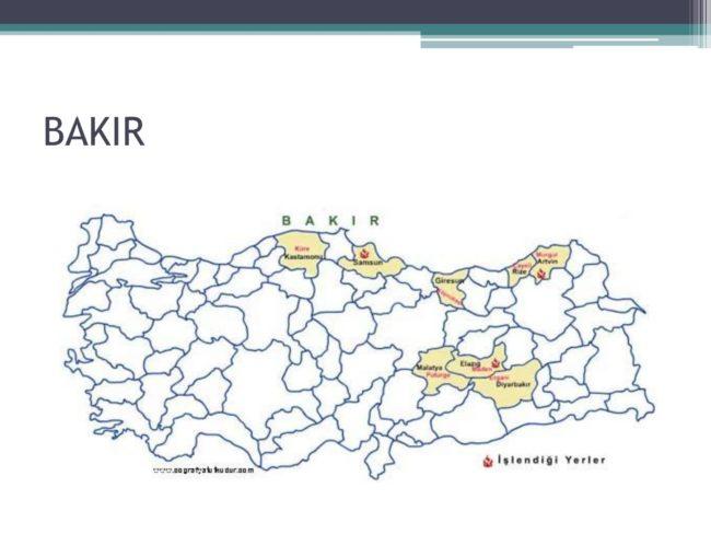 bakır maden haritası