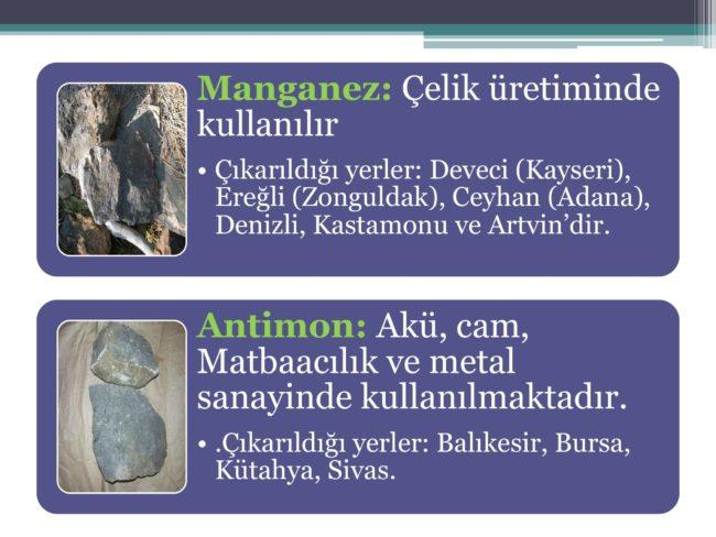 manganez ve antimon maden çeşitleri