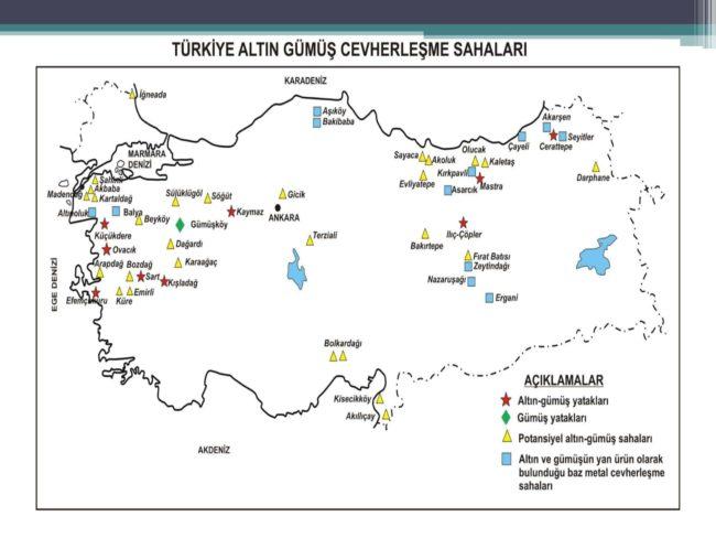 türkiye altın ve gümüş cevherleşme sahaları haritası