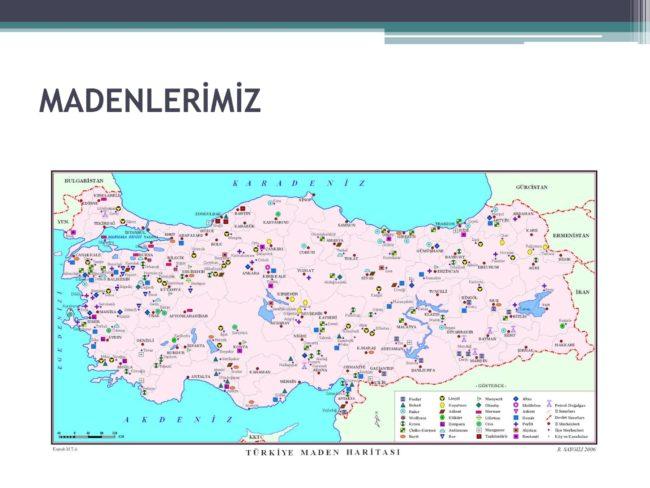 Türkiye maden yatakları haritası