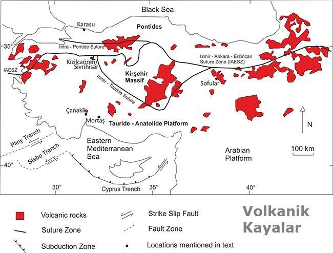 volkanik kayalar haritası