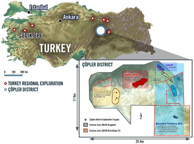 Türkiye Erzincan altın madeni yatağı