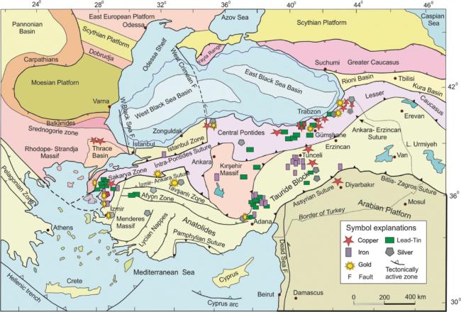 Türkiye metalik cevher yataklarının dağılımı.